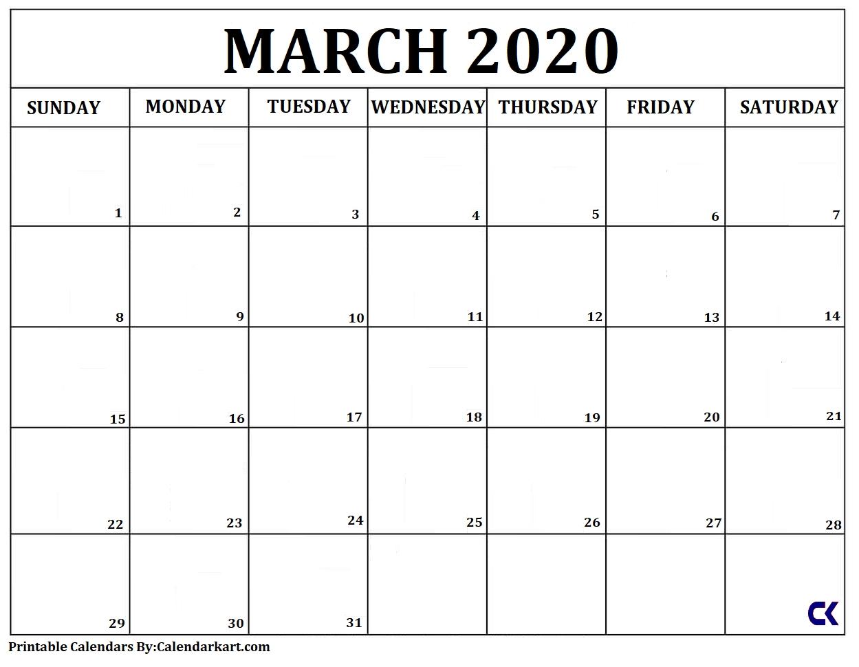 Free Printable Calendar Templates 2020 » Calendarkart