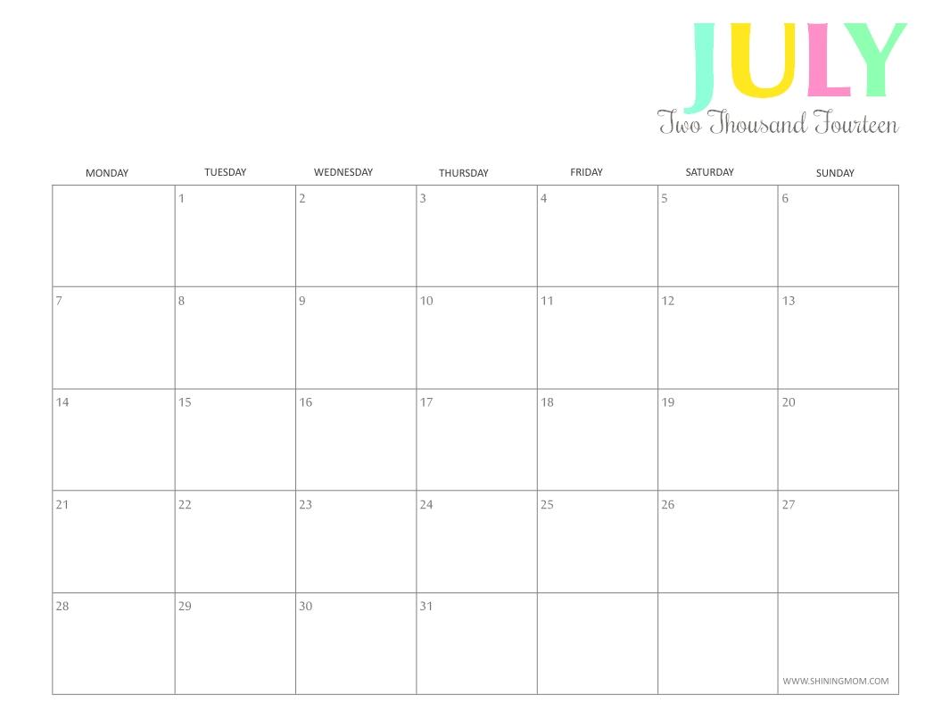 Free Printable: Colorful 2014 Calendarsshining Mom