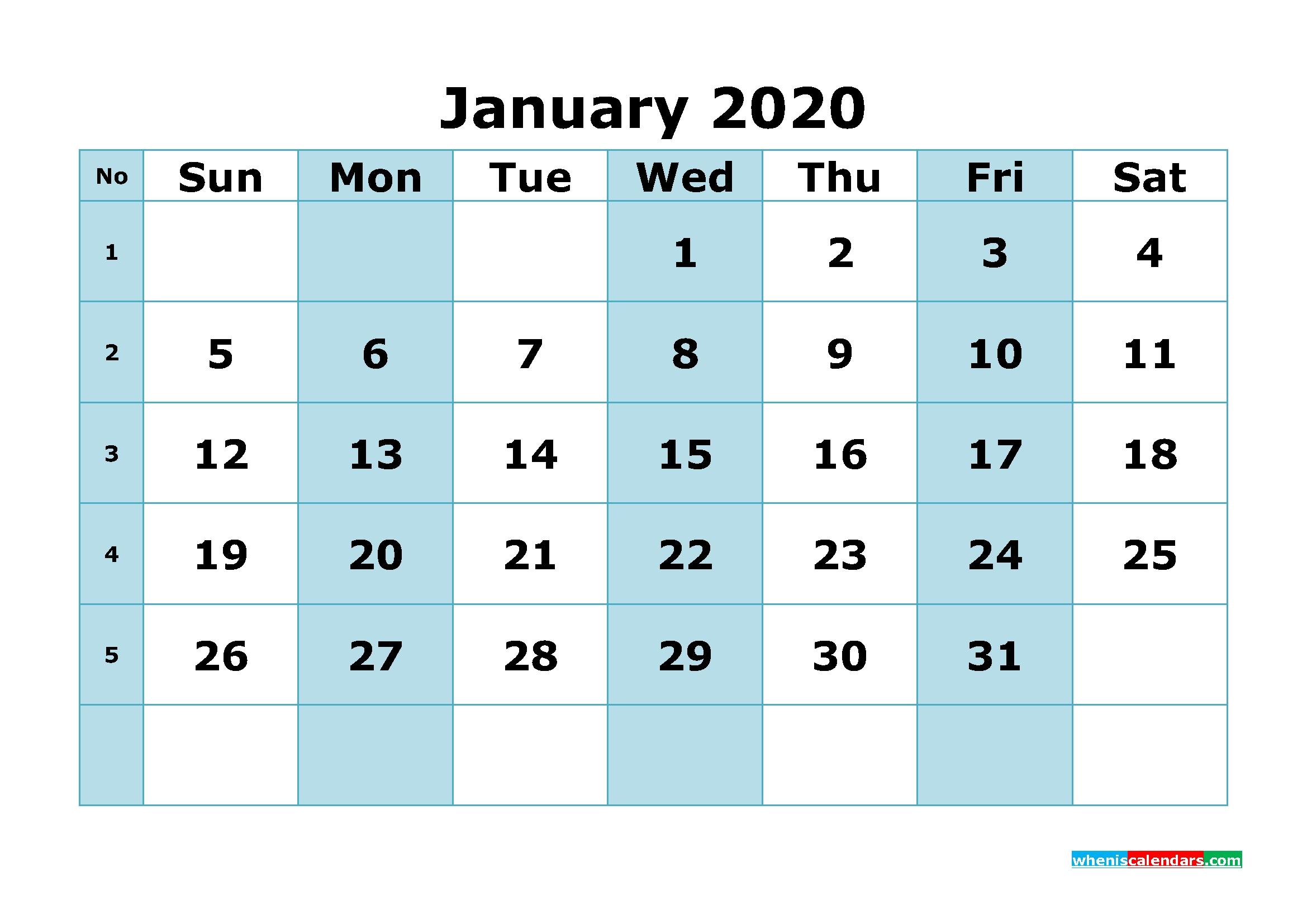 Free Printable January 2020 Calendar With Week Numbers