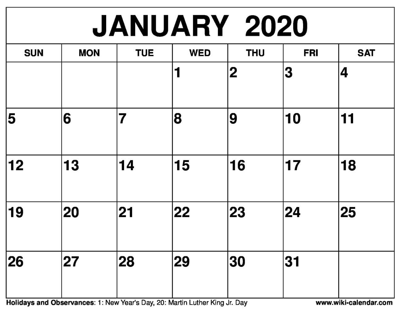 Free Printable January 2020 Calendars