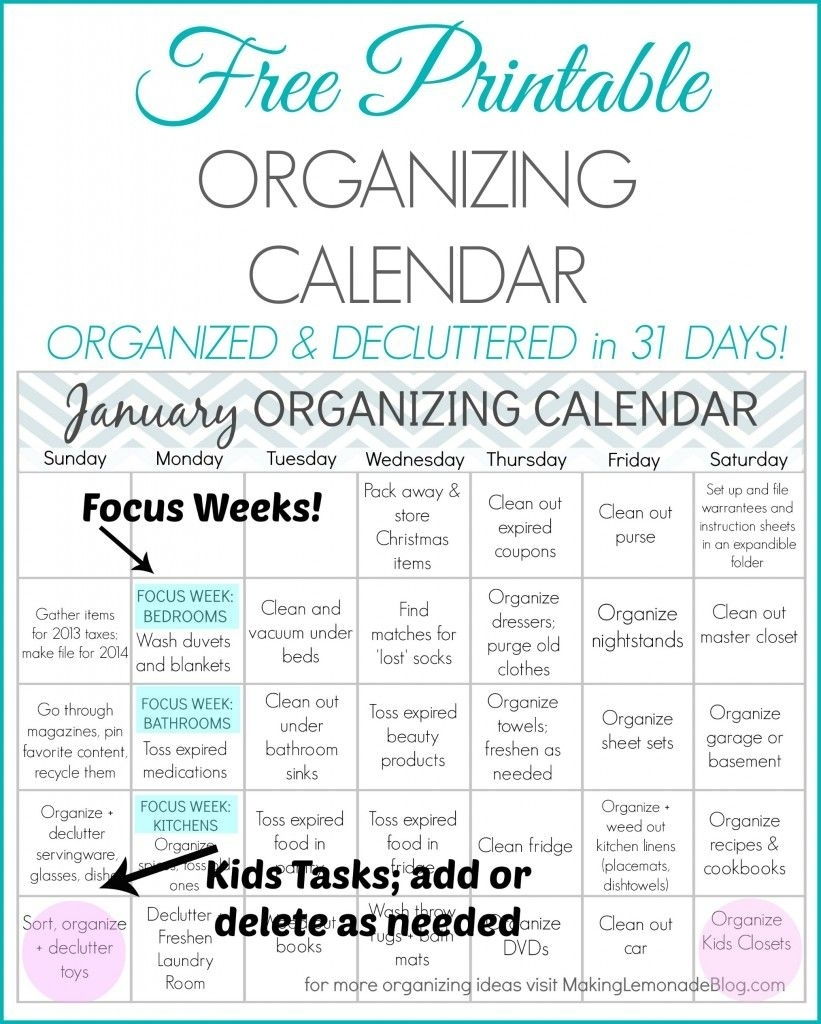 Free Printable January Organizing Calendar (With Images