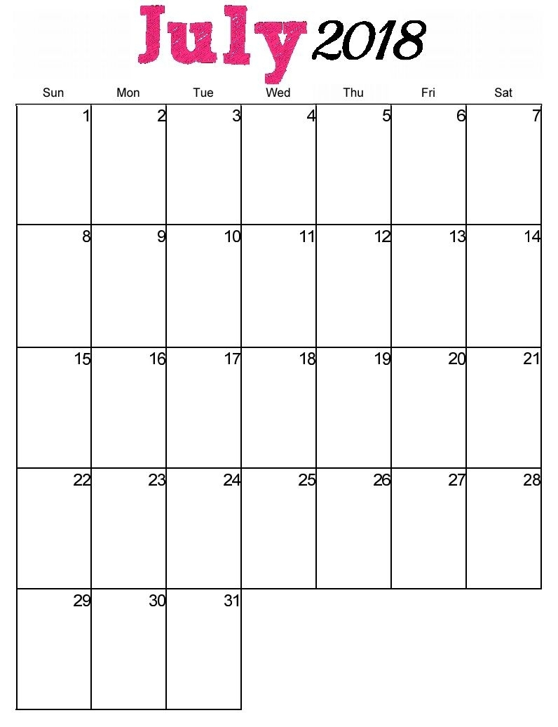 Free Printable July 2018 Vertical Calendar (With Images
