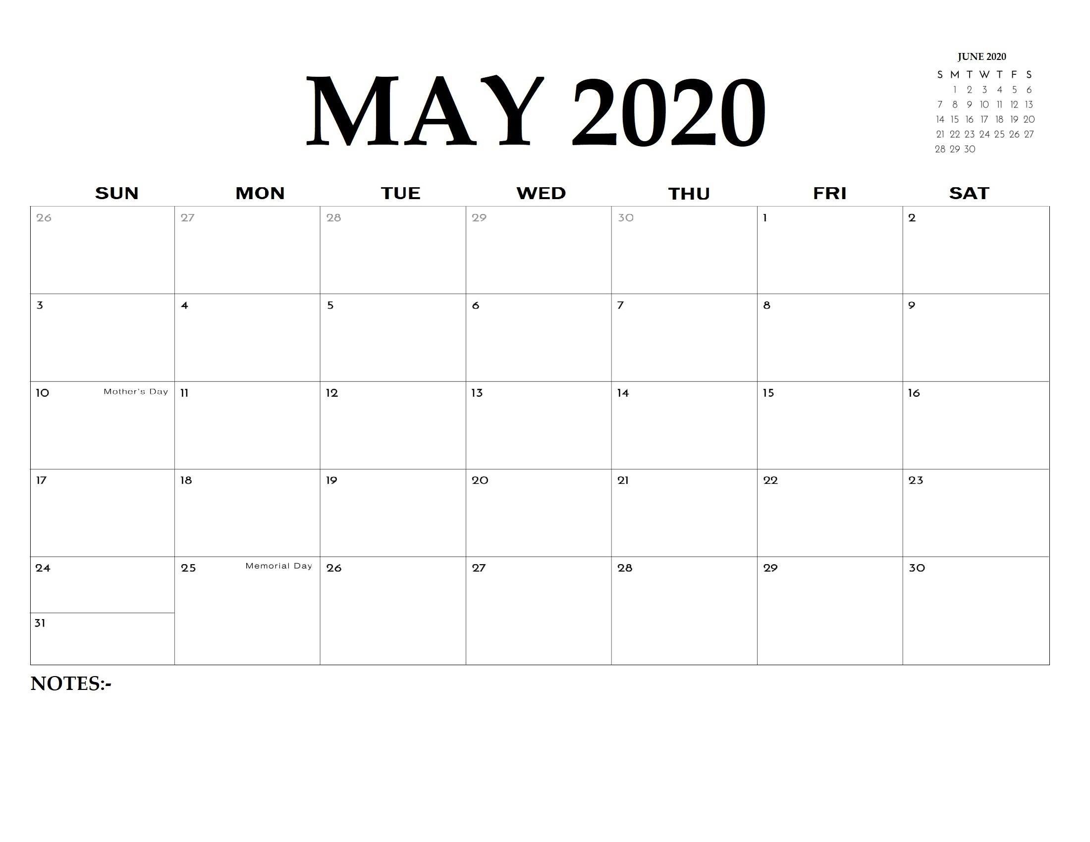 Free Printable May 2020 Calendar - Printable Calendar