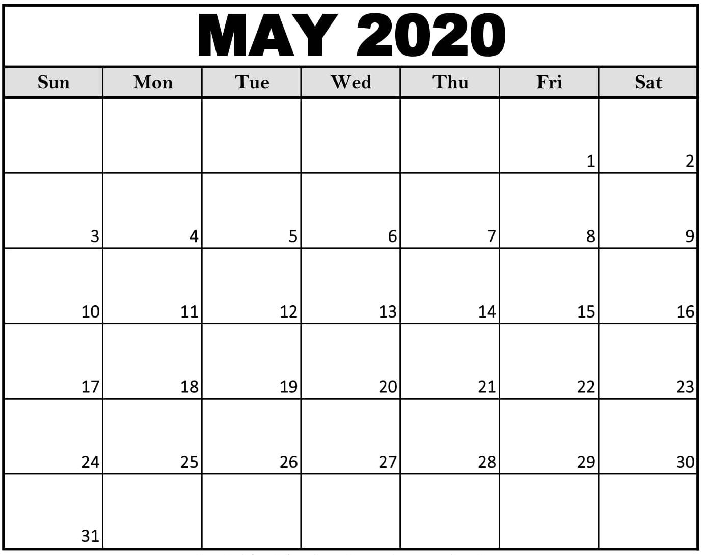 Free Printable May 2020 Calendar With Blank Notes - Set Your