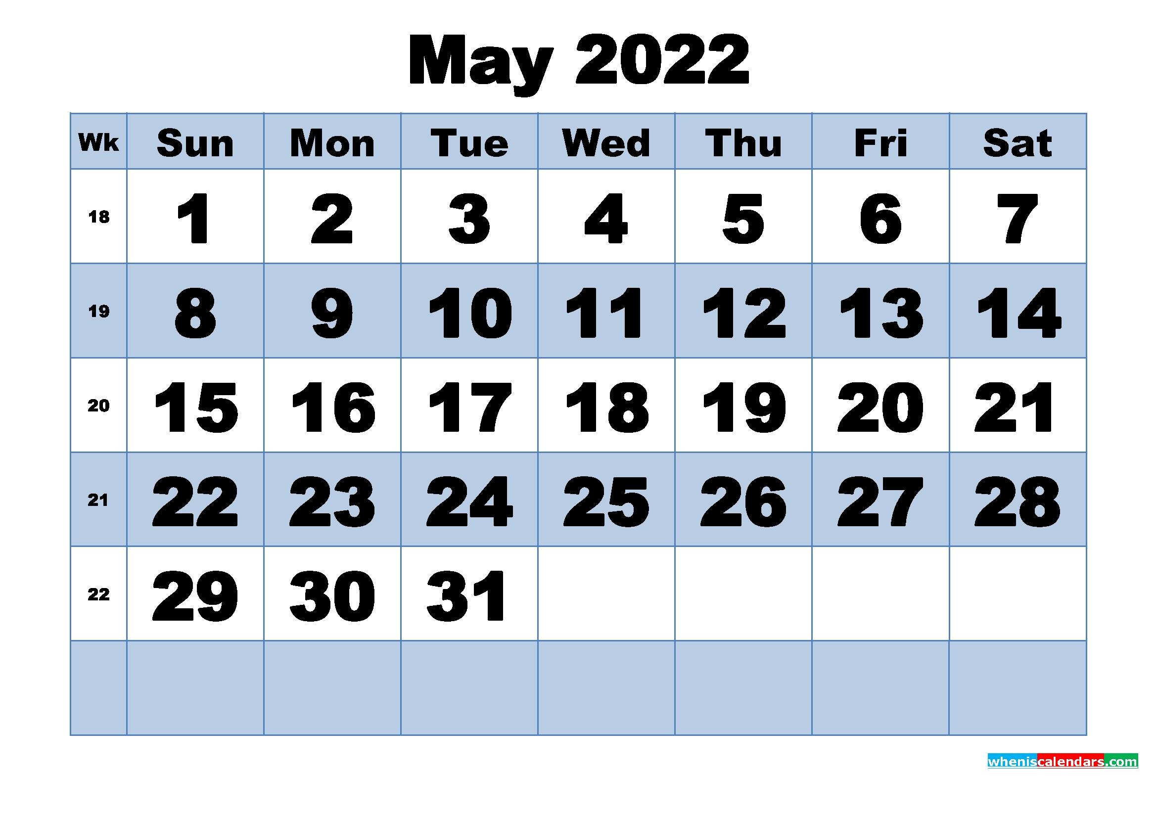 Free Printable May 2022 Calendar With Week Numbers – Free