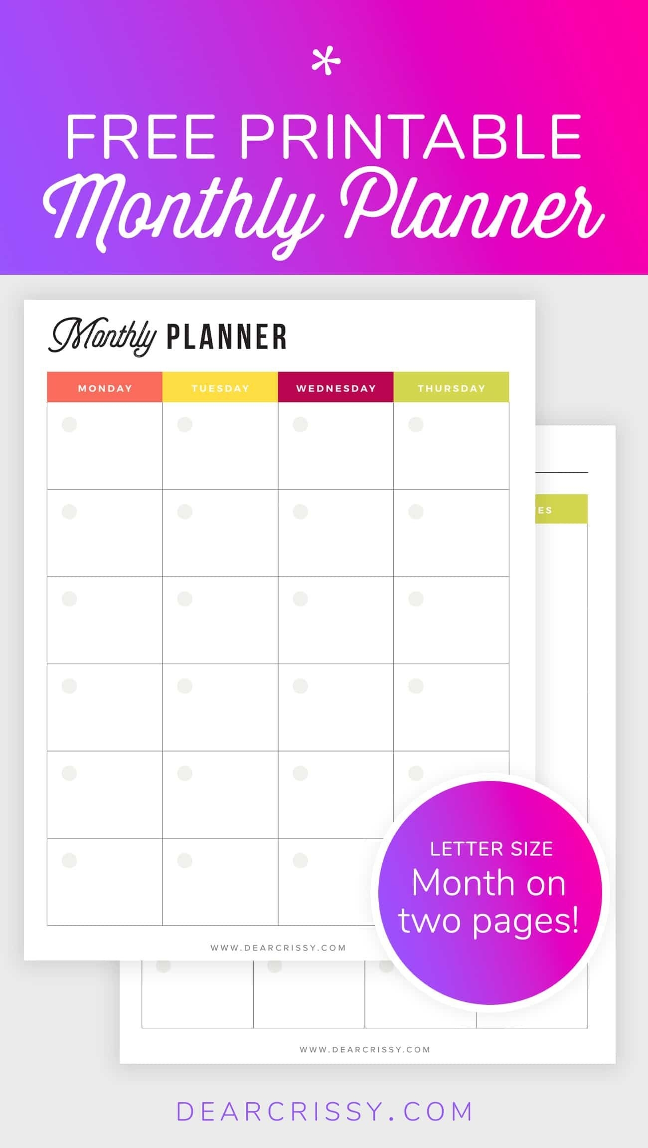 Free Printable Monthly Planner - Mo2P Letter Size Planner