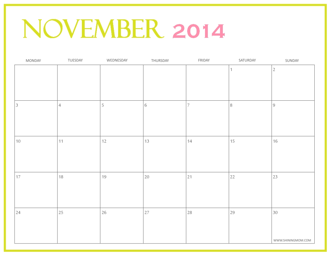 Free Printable November 2014 Calendarsshining Mom