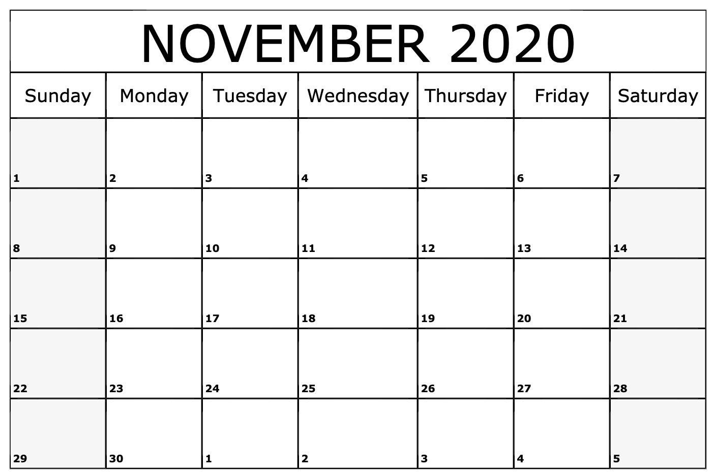 Free Printable November 2020 Calendar Template – Pdf, Word