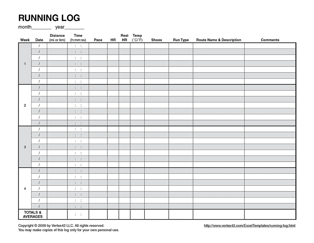 Free Printable Running Log (Pdf) From Vertex42 (With