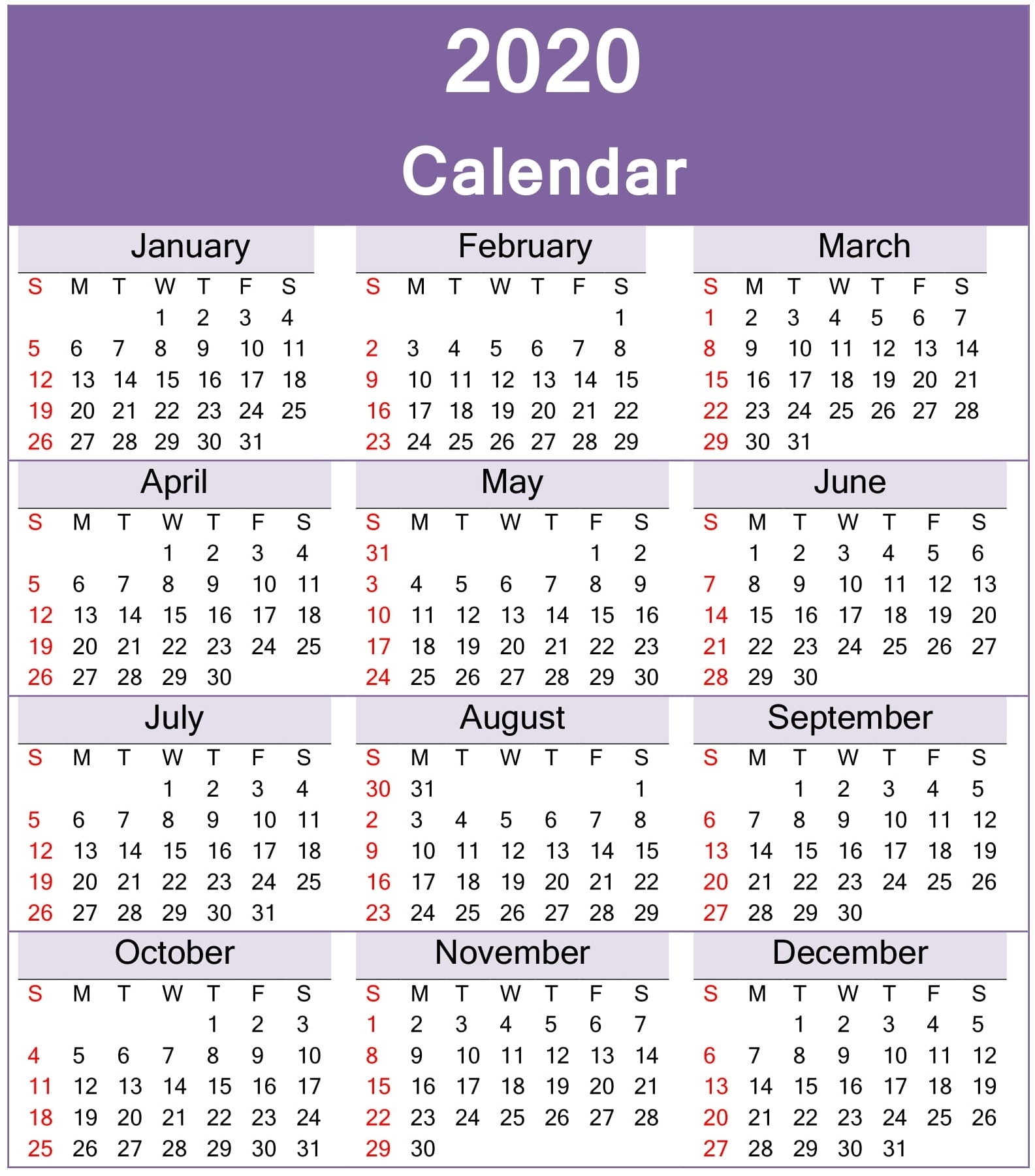 Free Printable Yearly 2020 Calendar Template Free Download
