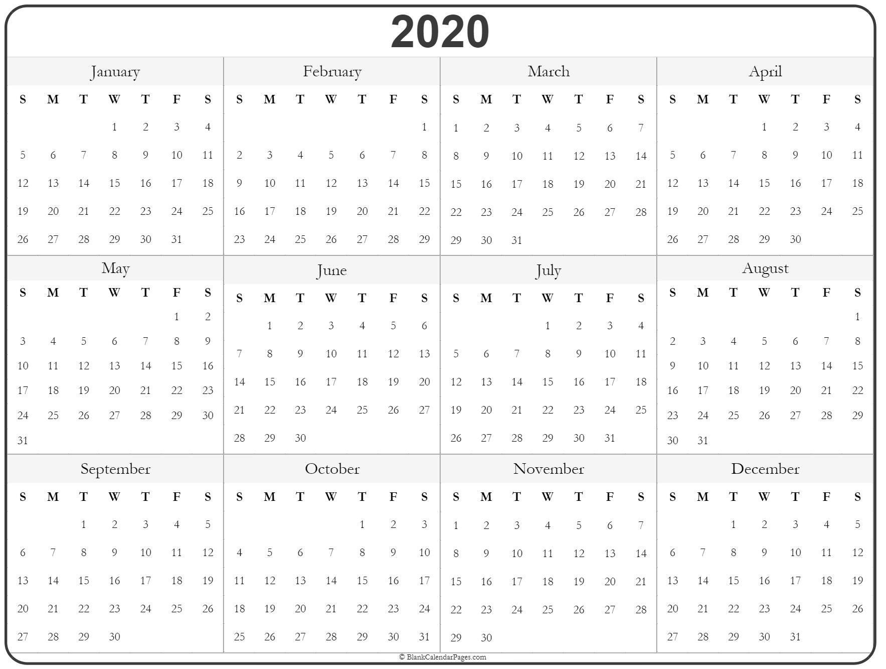 Free Printable Yearly Calendar 2020 | Printable Yearly