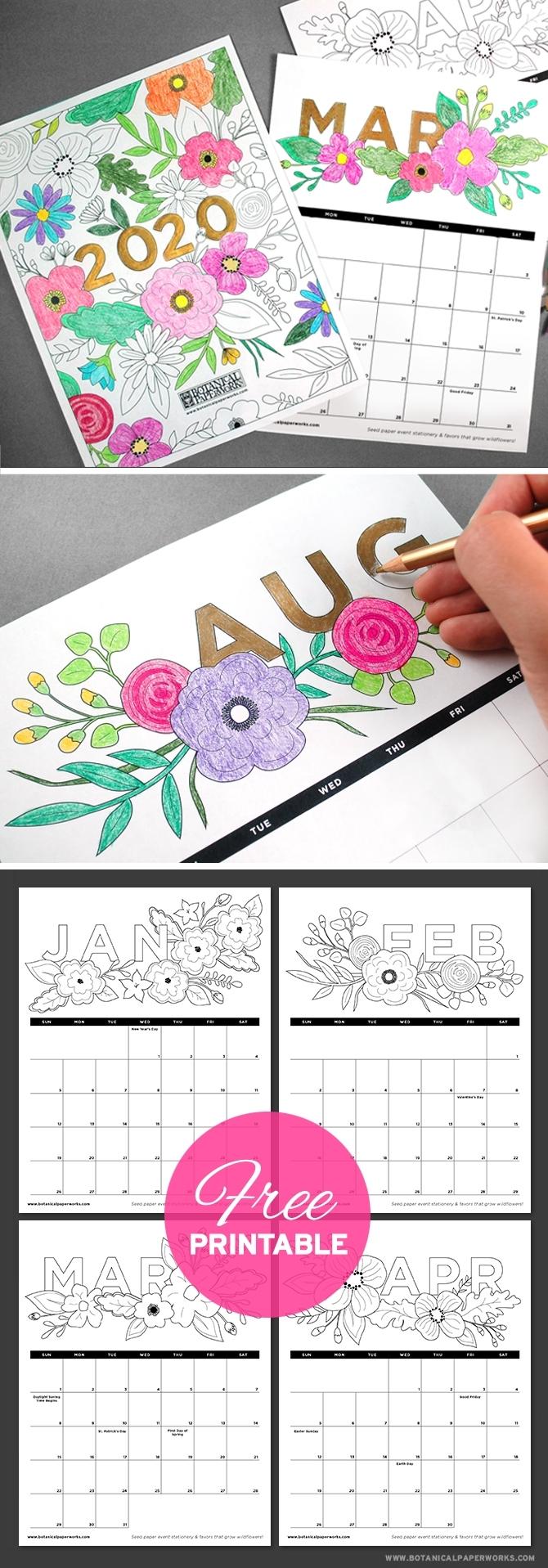 Free Printables} 2020 Calendars | Blog | Botanical Paperworks