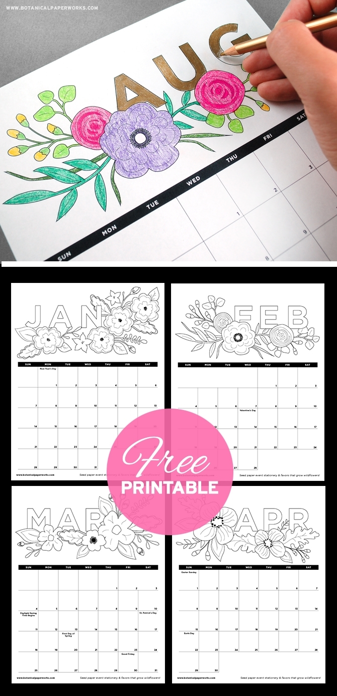 Free Printables} Adult Coloring Book Calendar | Blog