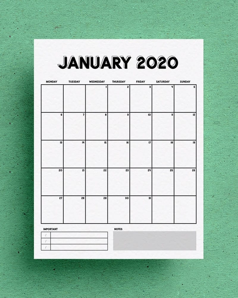 Free Vertical Calendar Printable For 2020 - Crazy Laura