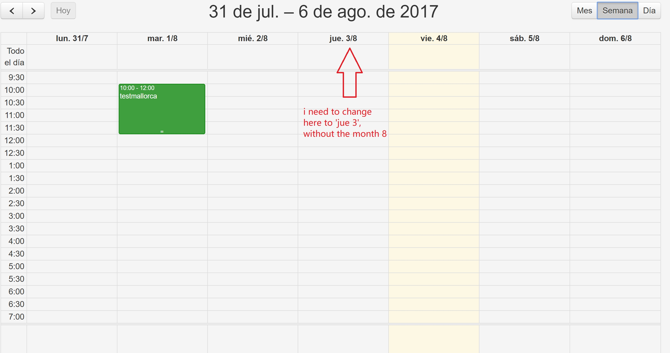 Fullcalendar Format Of Title Of Weekview - Stack Overflow
