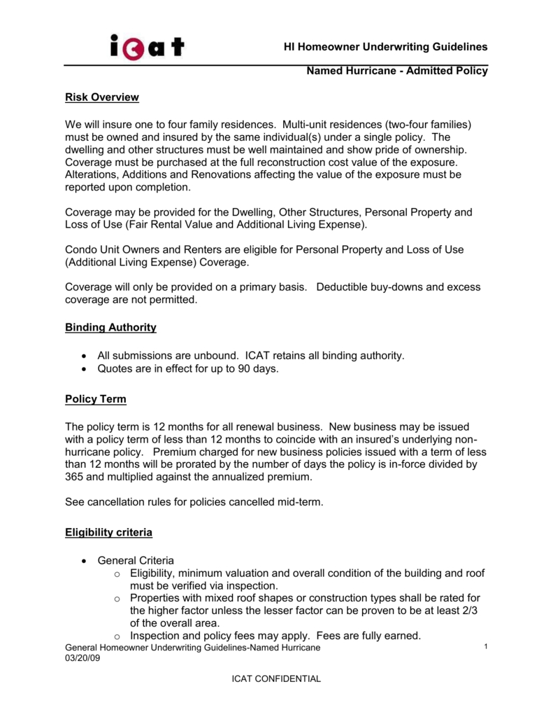 General Underwriting Rules - Wind