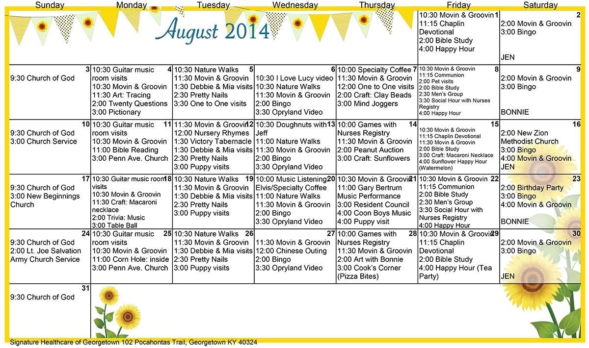 Georgetown August Calendar 2014 - Signature Healthcare Of