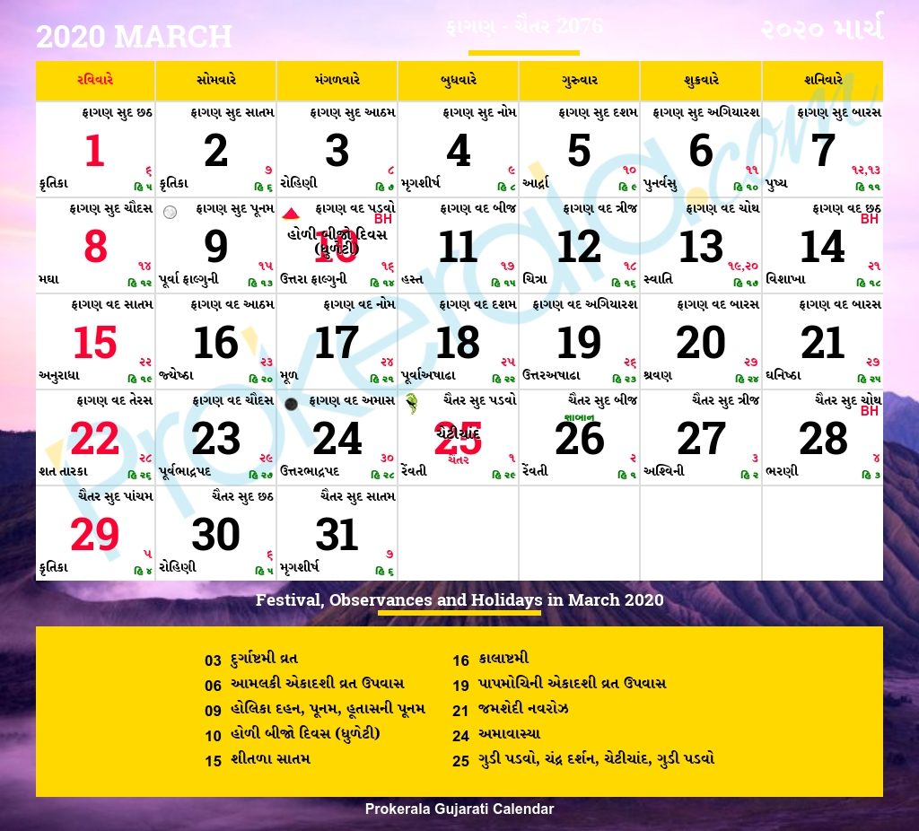 Gujarati Calendar March, 2020 | Vikram Samvat 2076, Phaguna