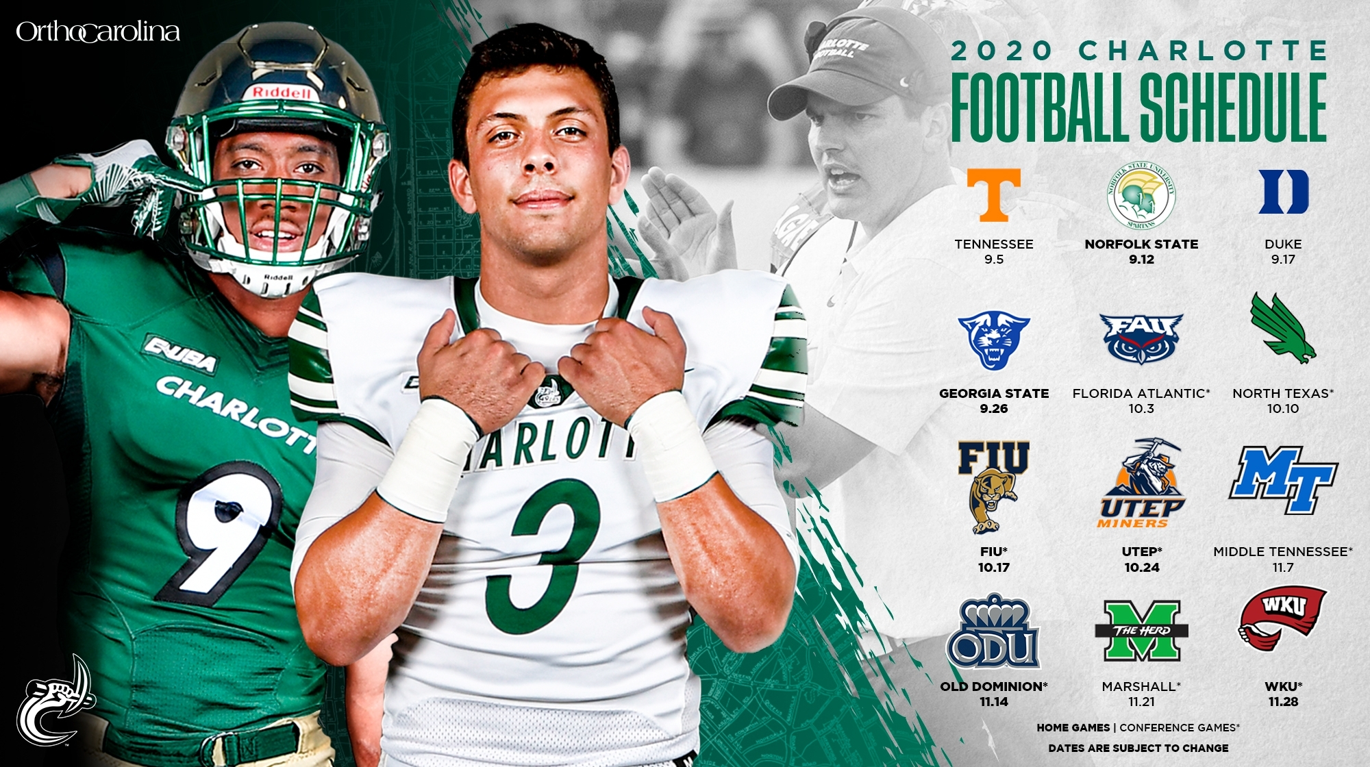 Healy Announces 2020 Football Schedule - Charlotte Athletics