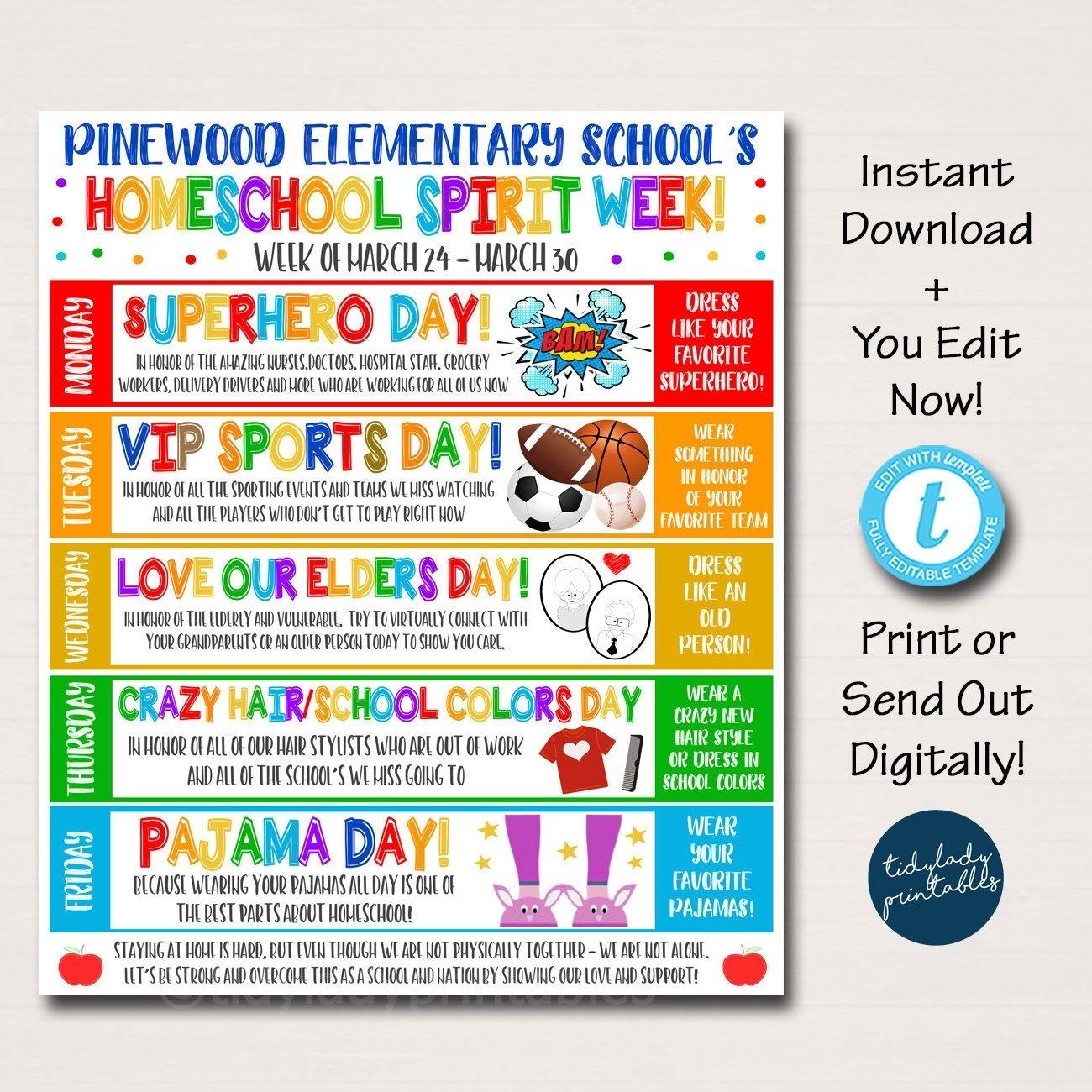Homeschool Spirit Week Itinerary Schedule, Daily Weekly
