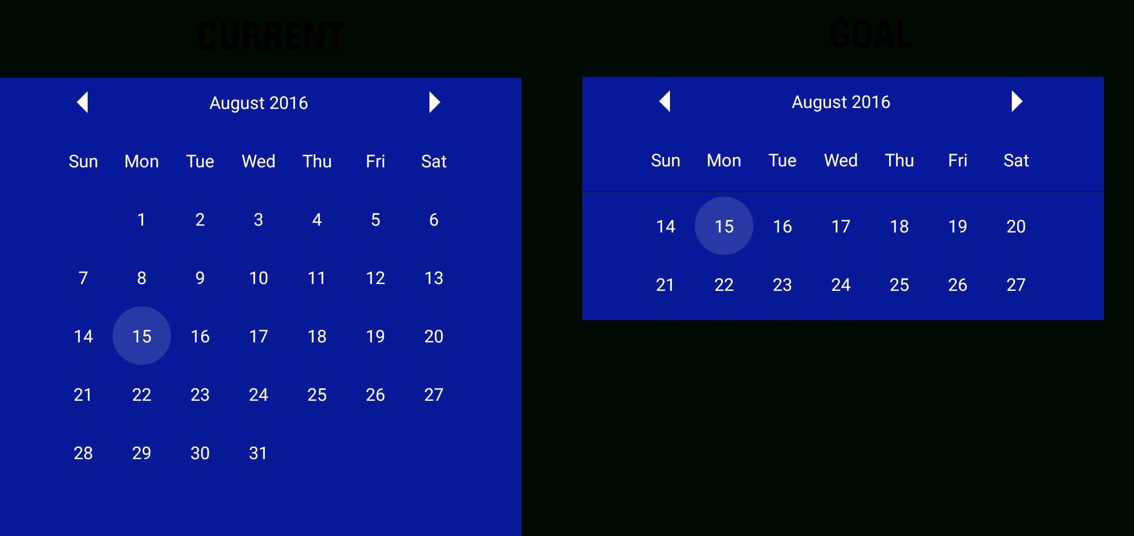 How To Display Only 2 Week In Calendarview In Android