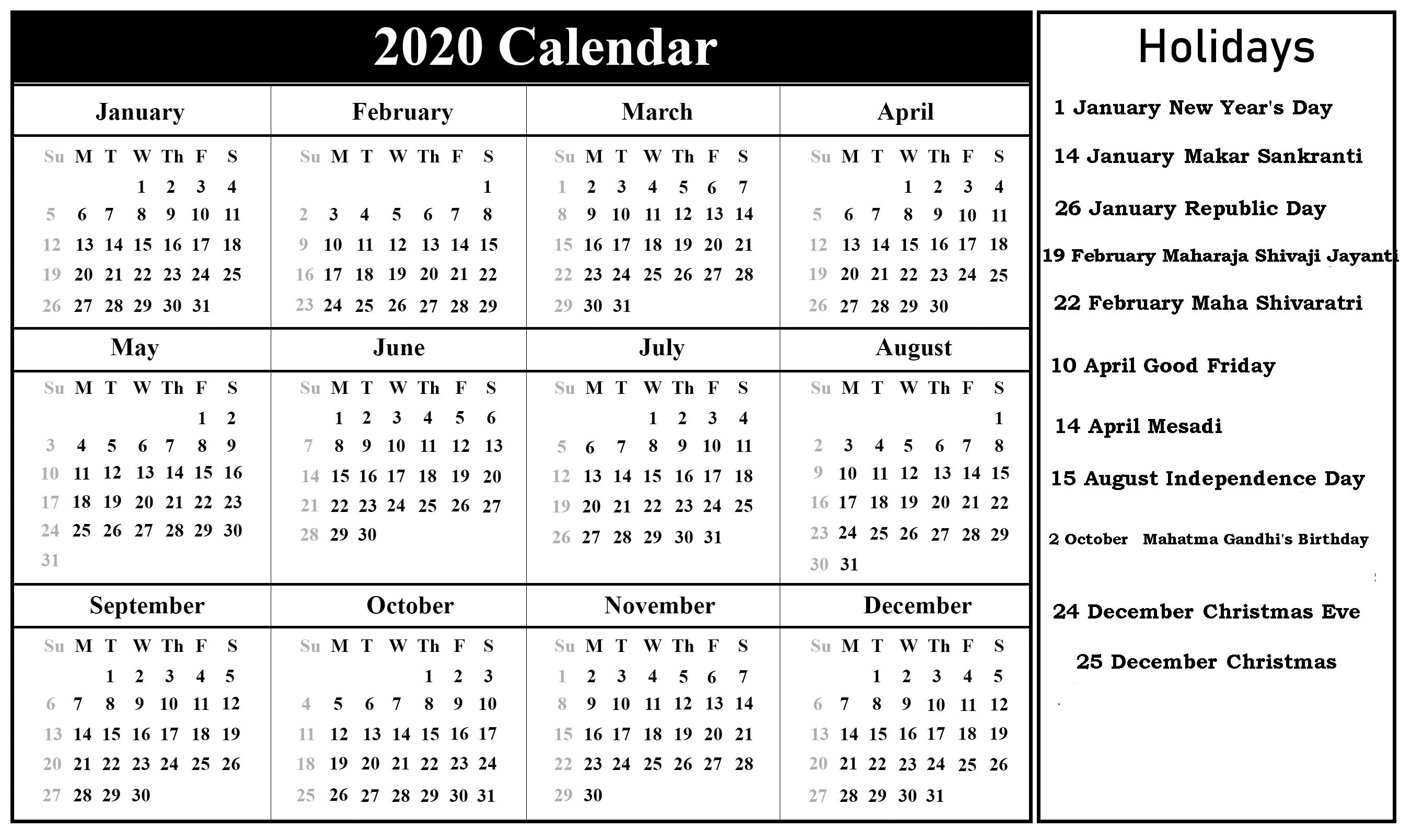 Indian 2020 Holidays Calendar Printable | India Festivals