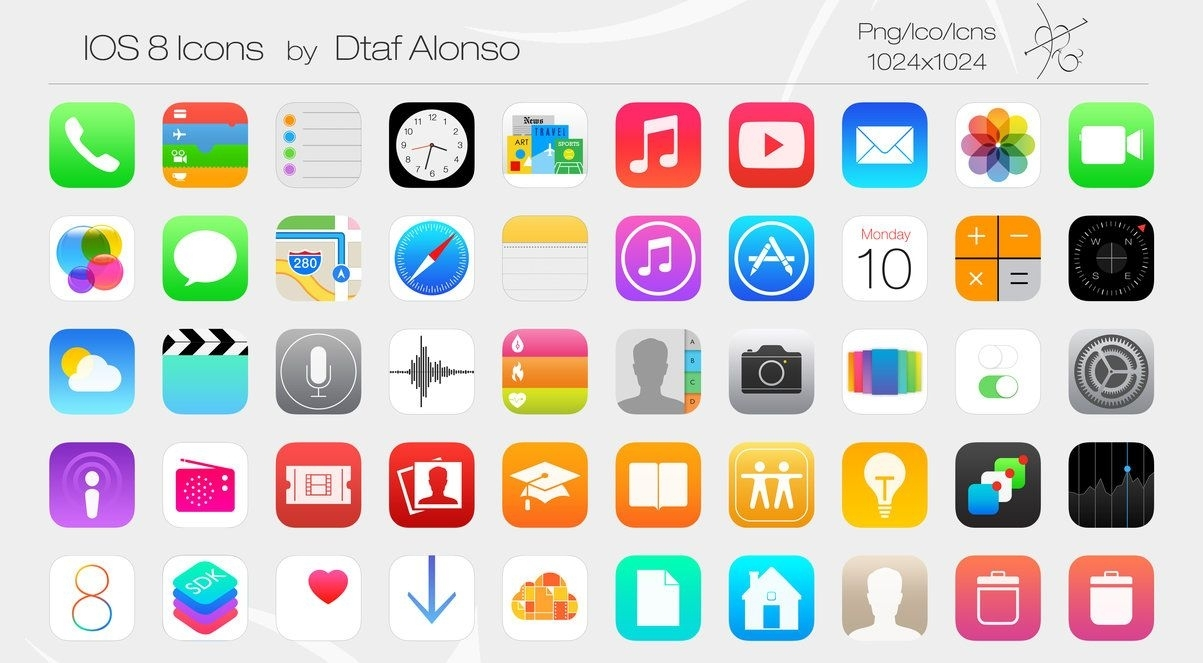 Ios 8 Iphone App Icons Printable (With Images) | Iphone Icon