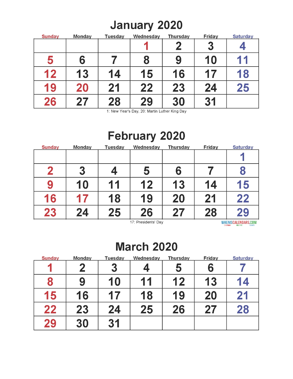 Jan Feb Mar 2020 Calendar 3 Months Per Page – Free Printable