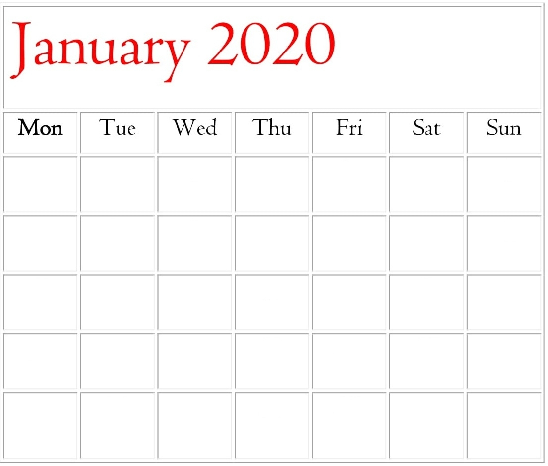 January 2020 Blank Calendar Monthly And Weekly Template