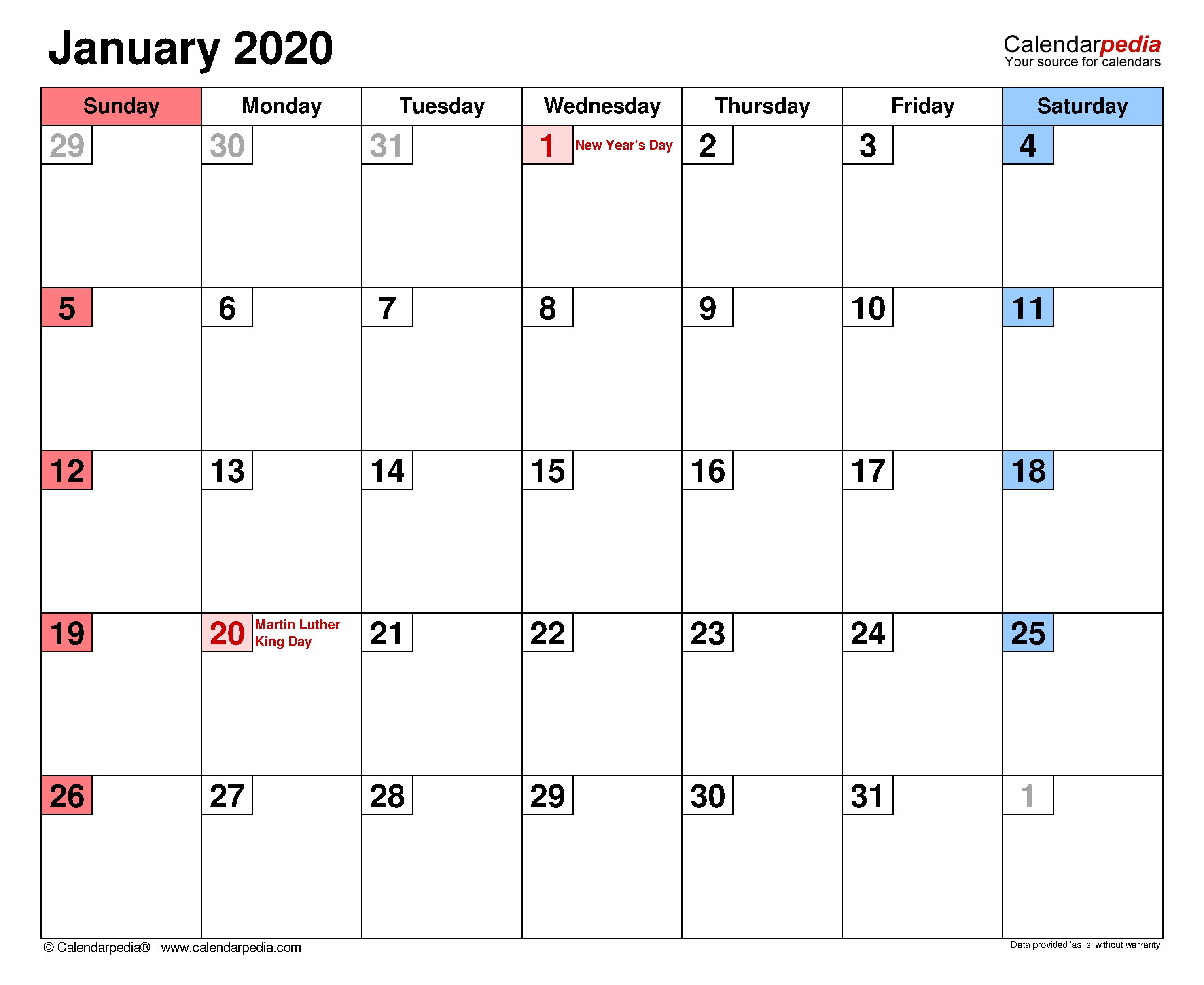 January 2020 - Calendar Templates For Word, Excel And Pdf