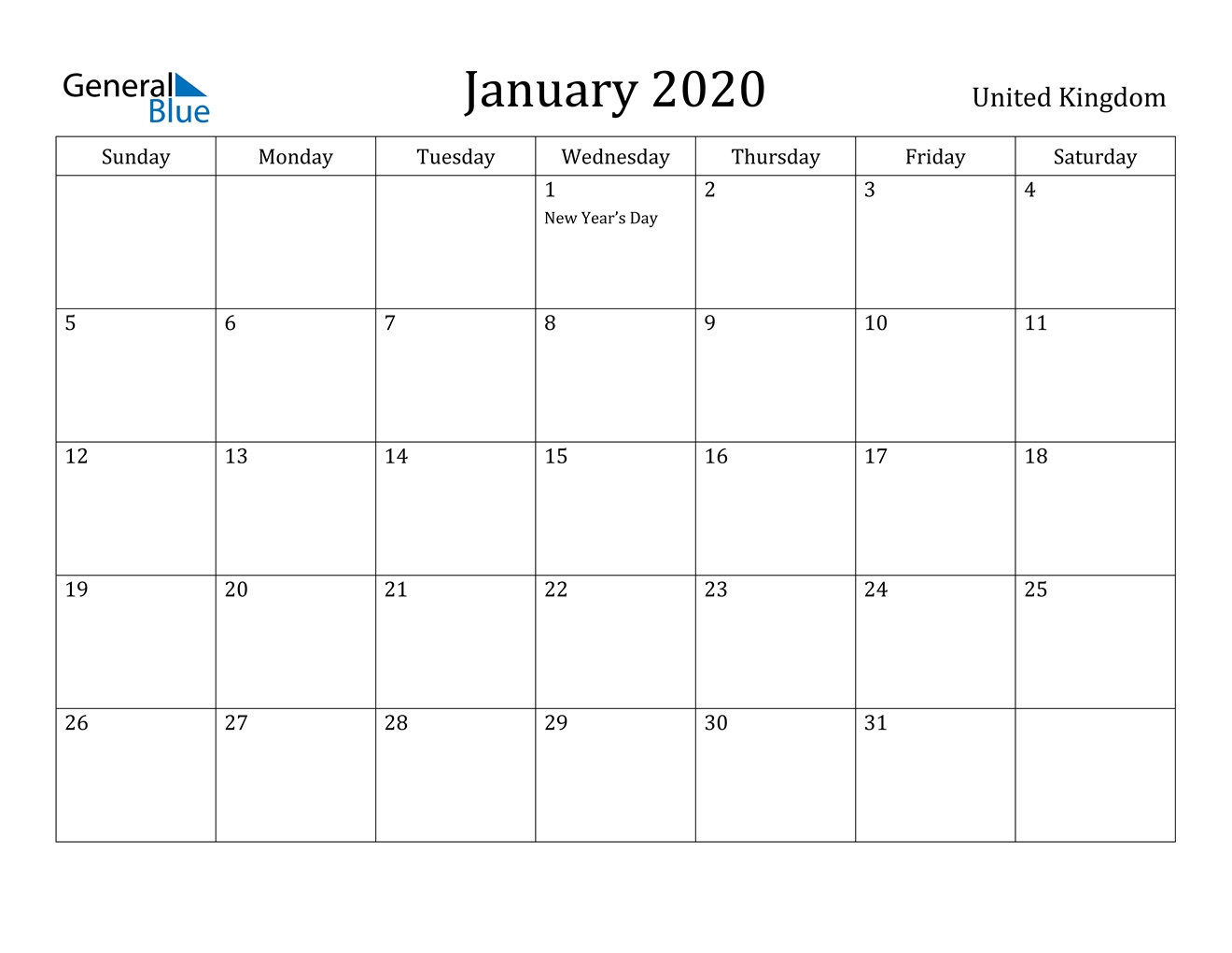 January 2020 Calendar - United Kingdom
