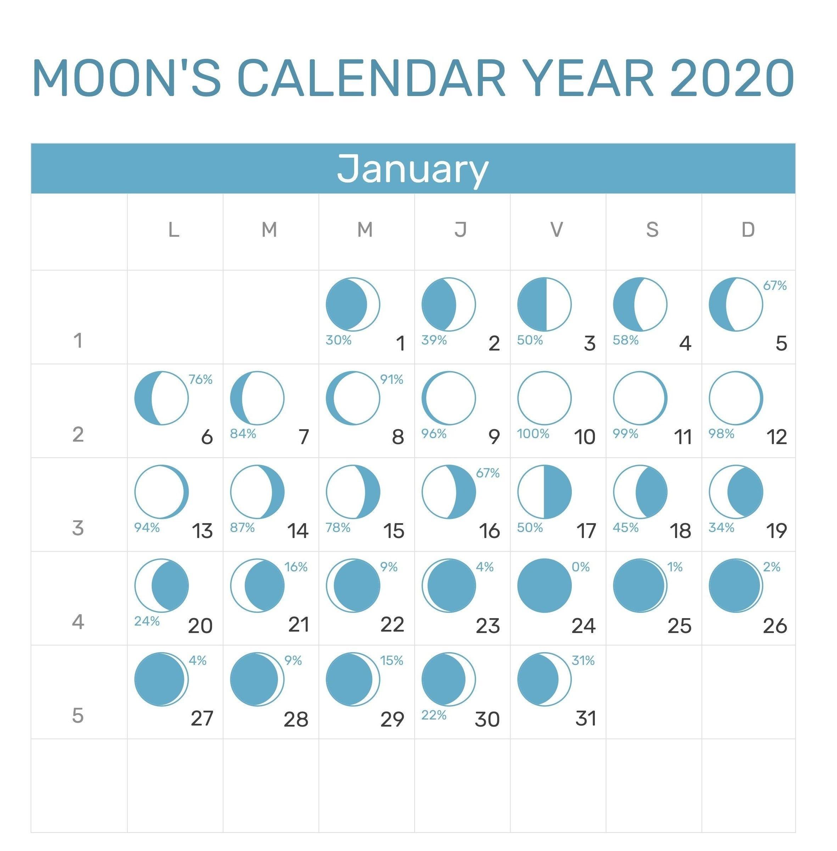 January 2020 Moon Phases Printable Calendar | Calendar