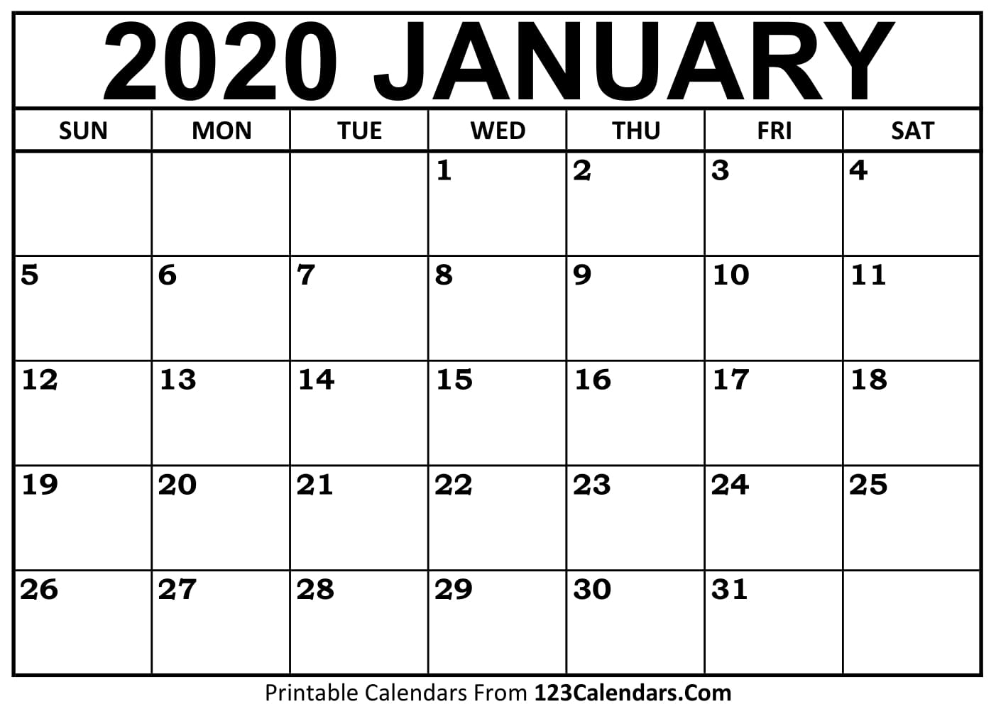 January 2020 Printable Calendar | 123Calendars