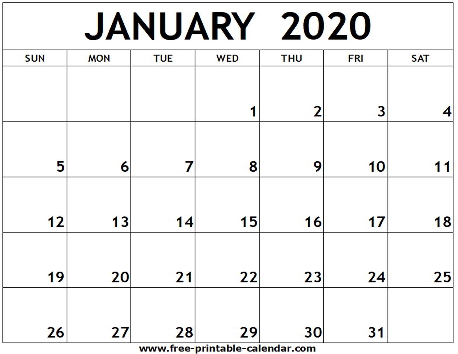 January 2020 Printable Calendar - Free-Printable-Calendar