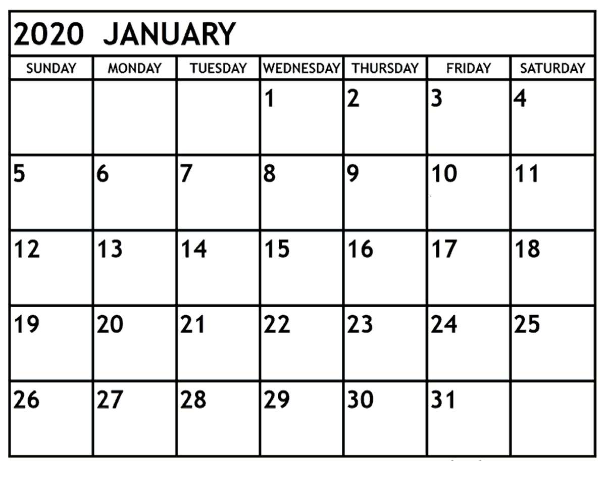 January 2020 Printable Calendar Monthly | 12 Month Printable