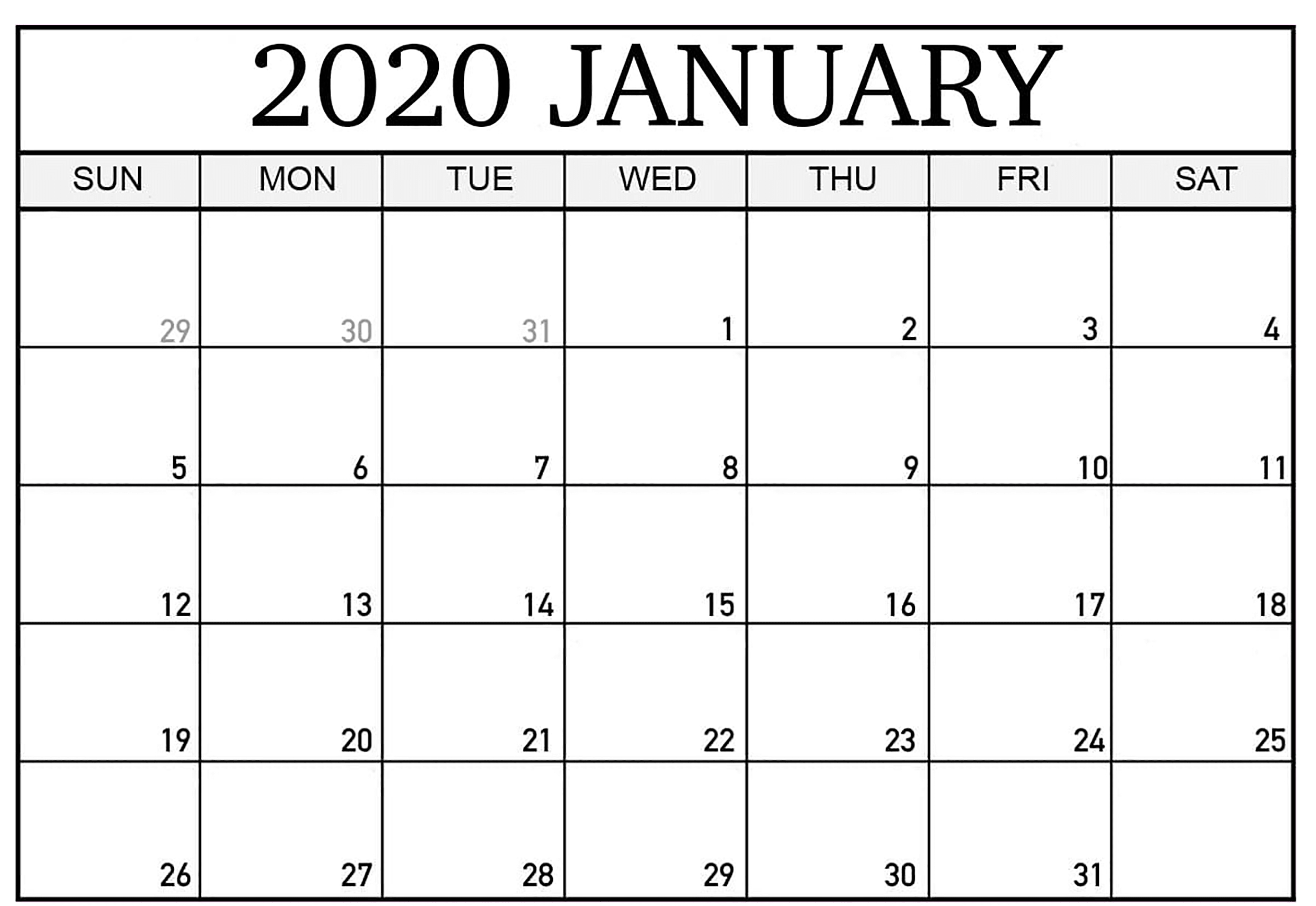 January 2020 Printable Calendar Portrait   Printable