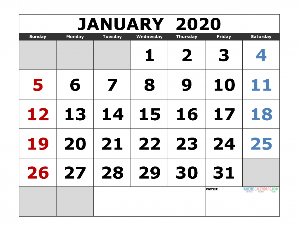 January 2020 Printable Calendar Template Excel, Pdf, Image