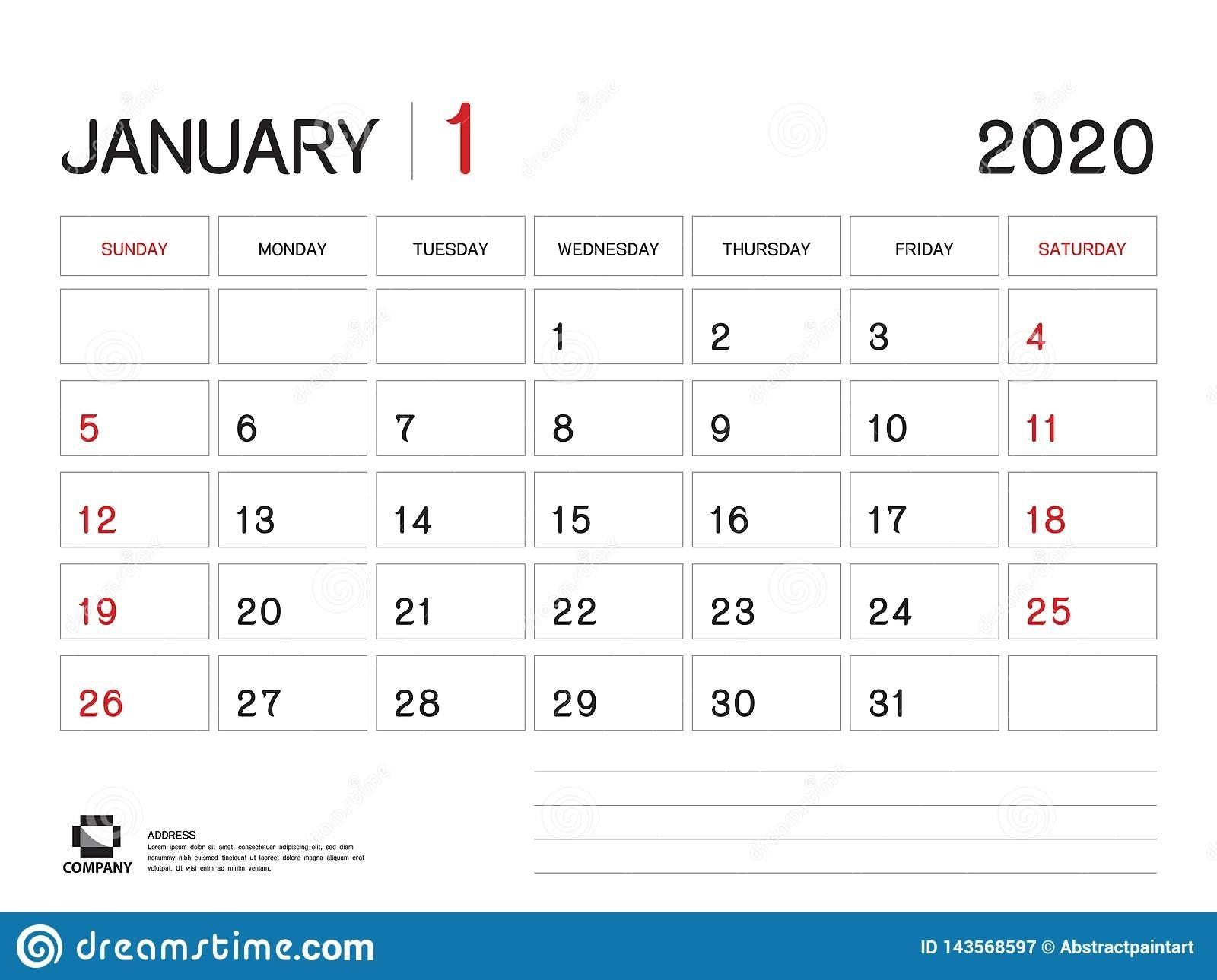 January 2020 Year Template, Calendar 2020 Vector, Desk