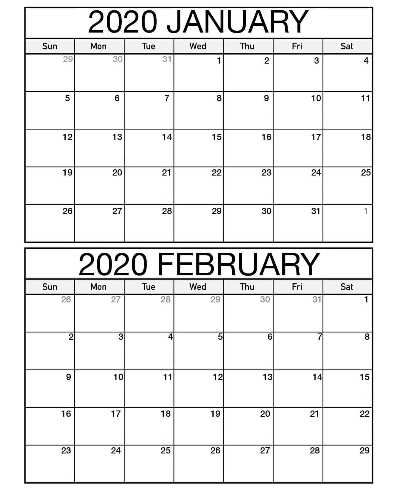 January February 2020 Calendar Jpg | Free Printable Calendar