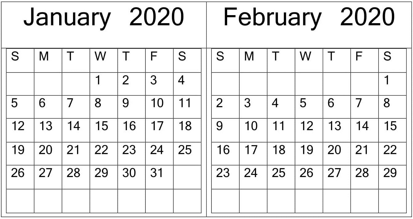 January February 2020 Calendar Print Online - Latest