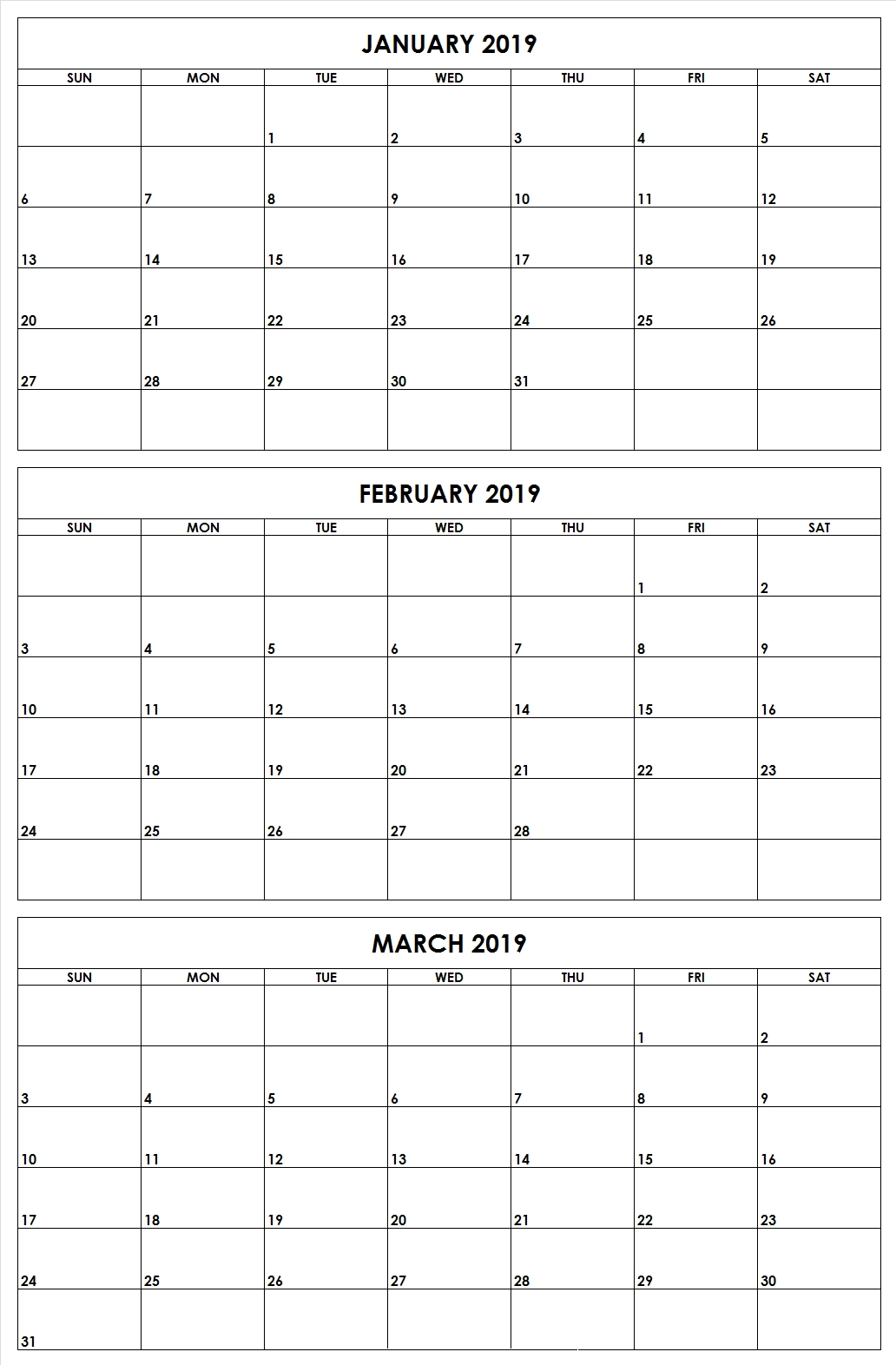 January February March 2019 Quarter 1 [Q1] Printable