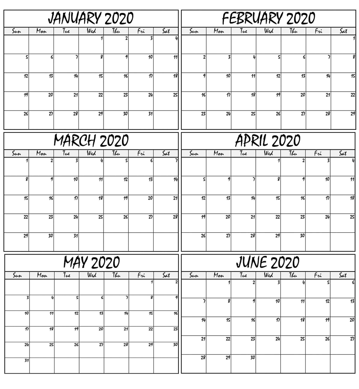 January To June 2020 Calendar Printable - 2019 Calendars For