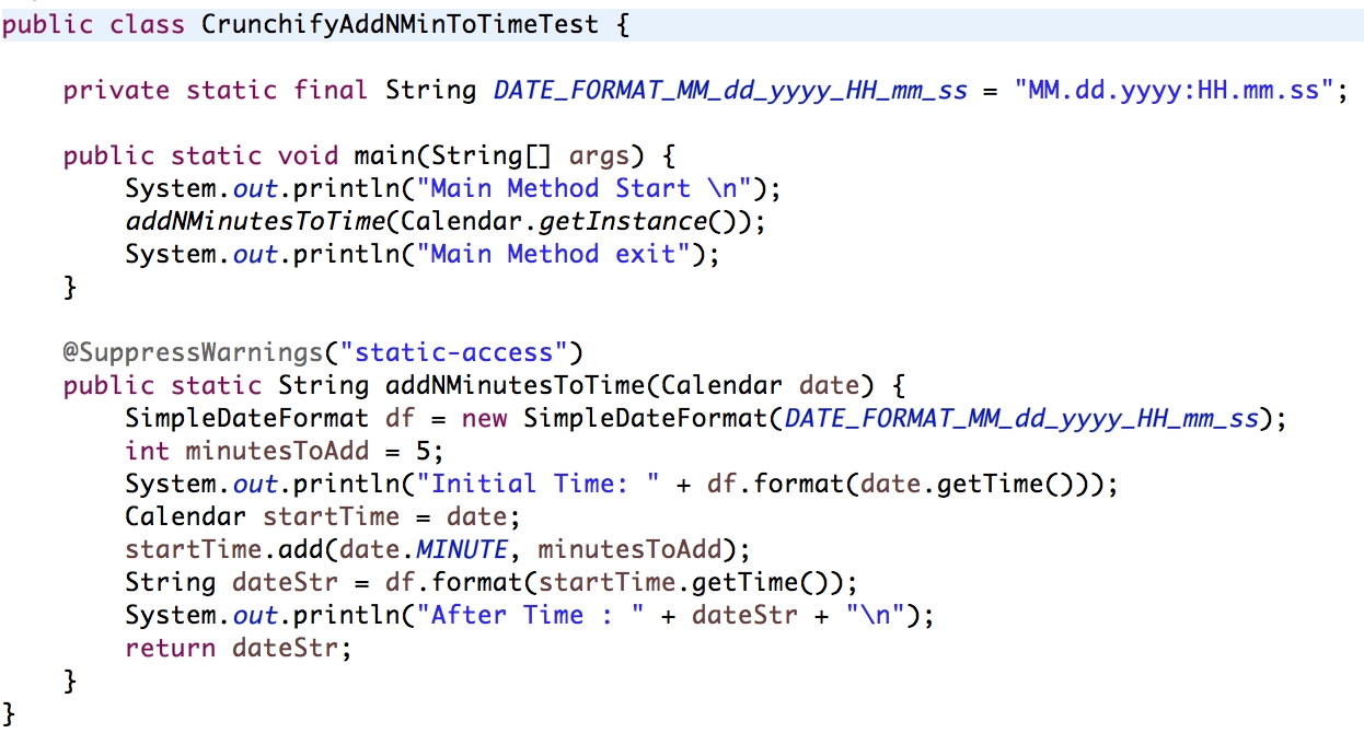 """Java: How To Add """"n"""" Minutes To Calendar Data Object"""