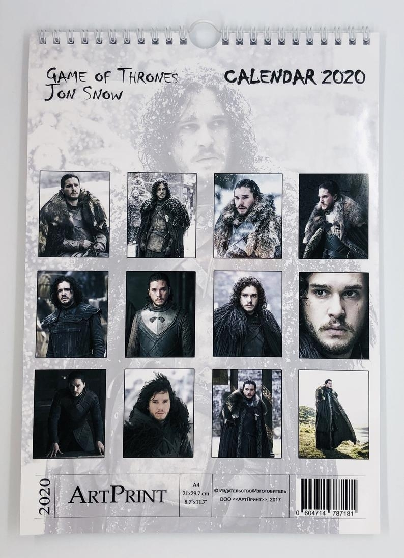 Jon Snow From Game Of Thrones Wall Calendar New 2020 A4