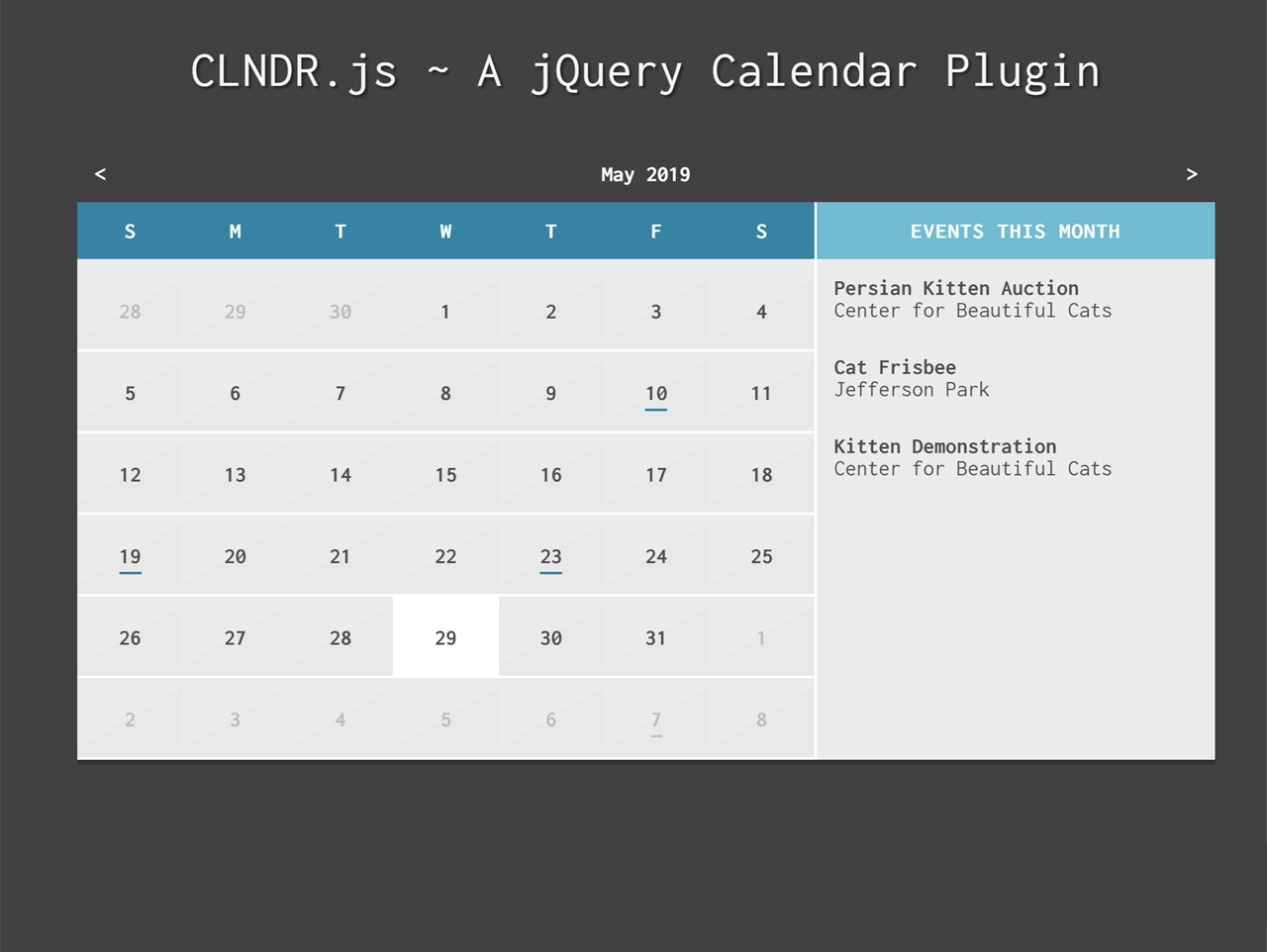 Jquery Calendar Plugin With Daily Events - Clndr.js — Codehim