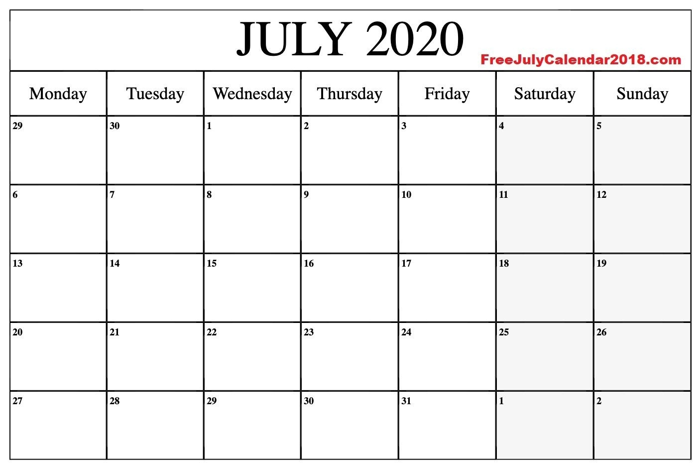 July 2020 Calendar Word Document In 2020 | Calendar