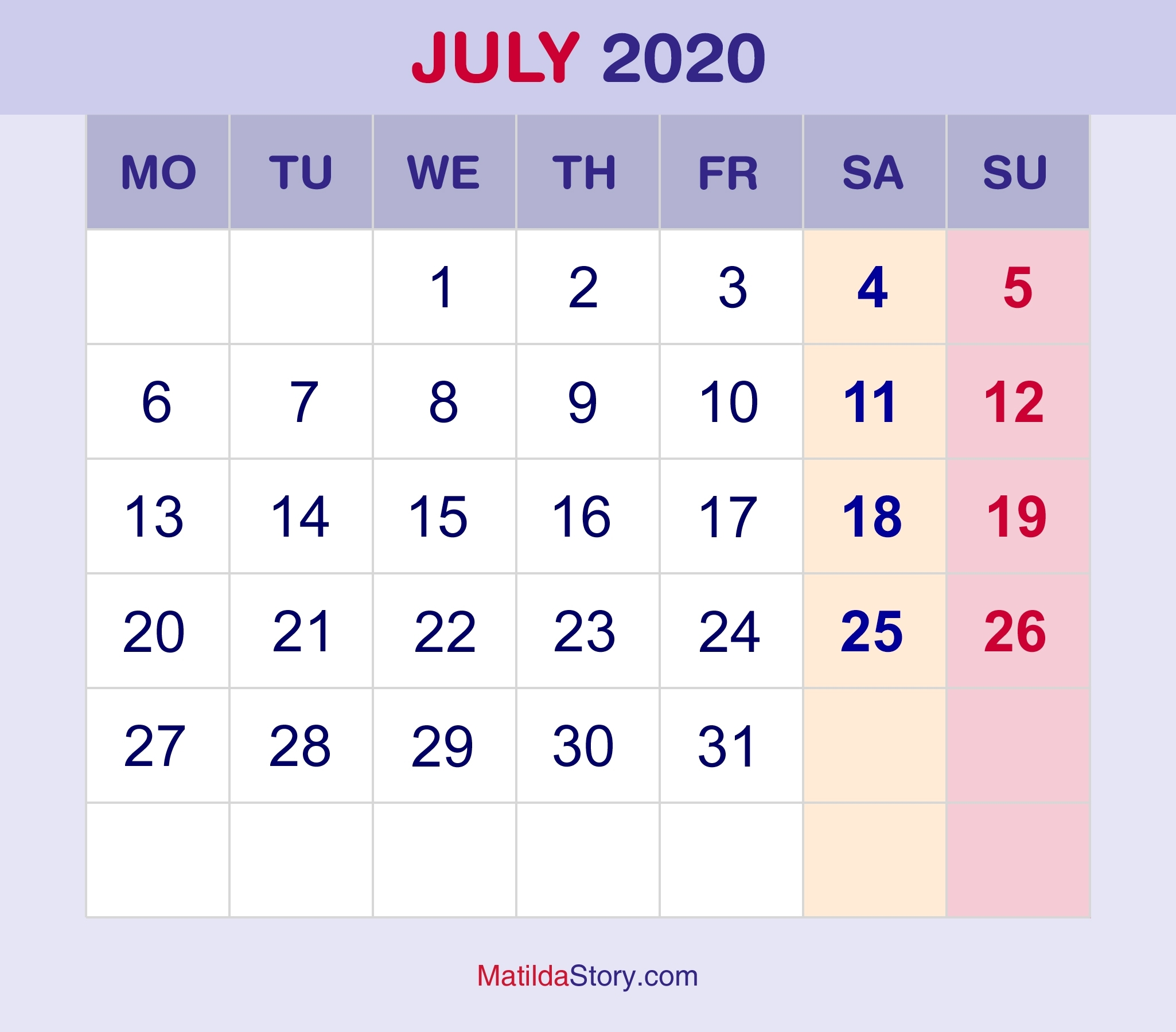 July 2020 Monthly Calendar, Monthly Planner, Printable Free
