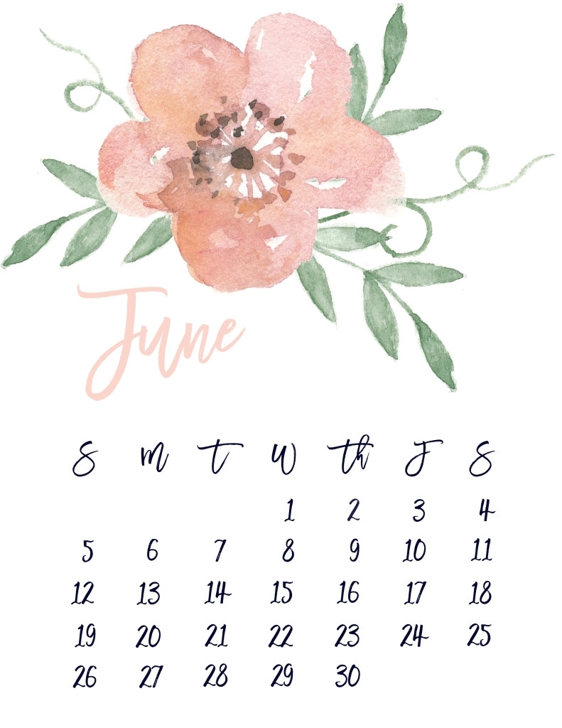 June 2016 Free Pretty Printable Calendar | Marinobambinos