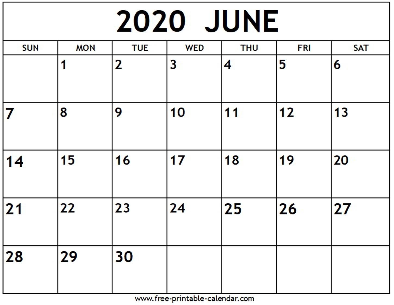 June 2020 Calendar - Free-Printable-Calendar