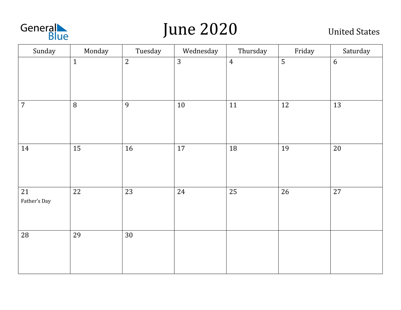 June 2020 Calendar - United States